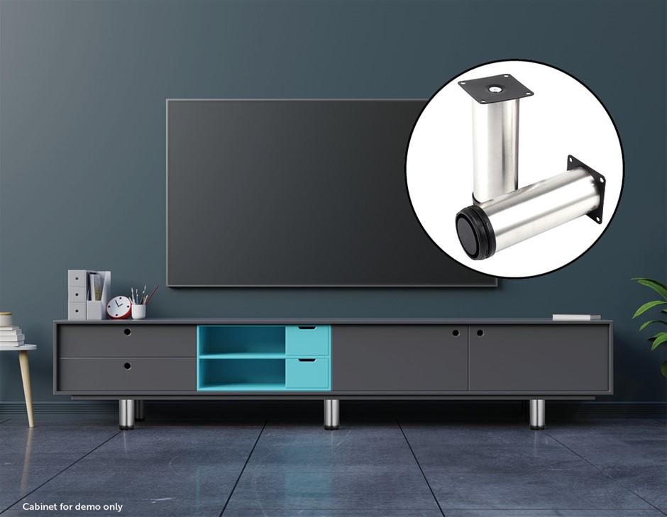4x 12cm Adjustable Round Cupboard Table Sofa Bed Feet Furniture Leg