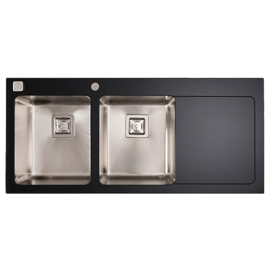 Black Glass Double Bowl Kitchen Sink, Murano, MS085B