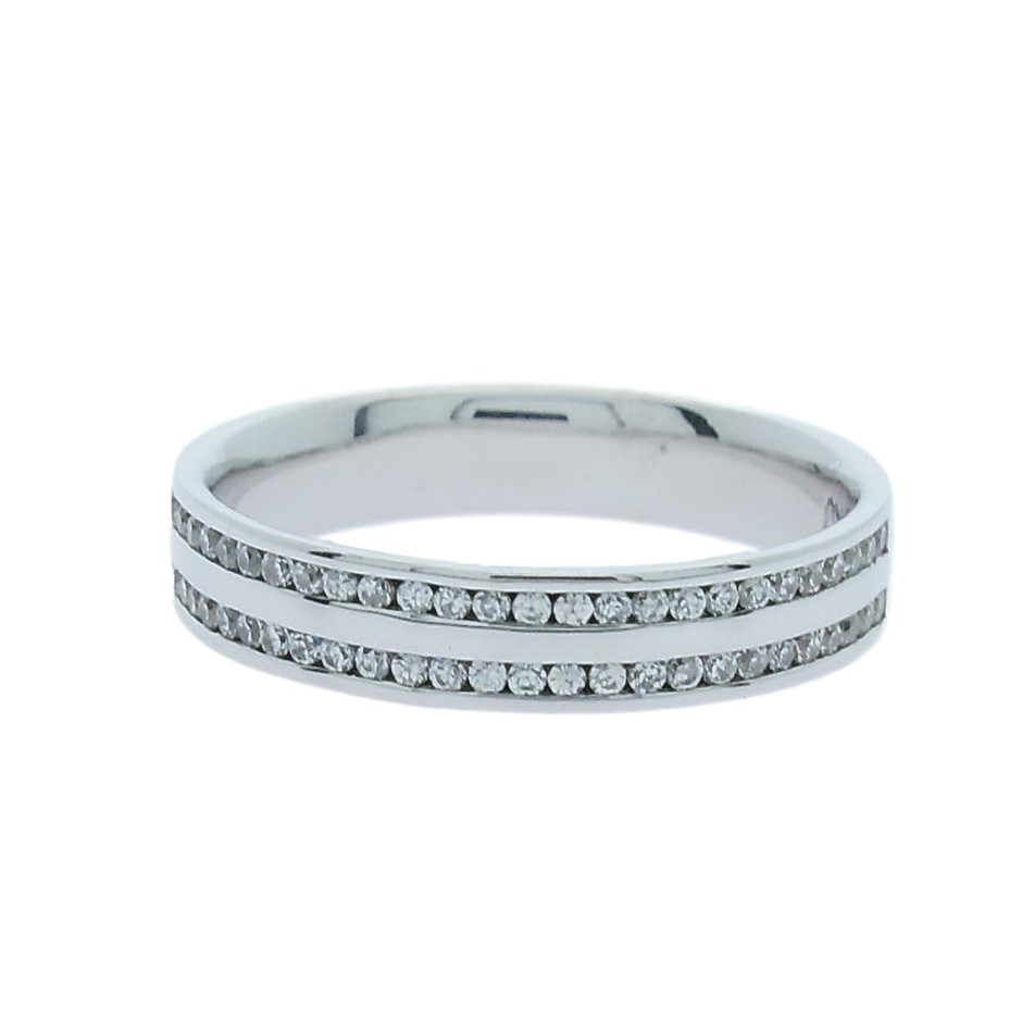 0.26 Carat Sterling Silver double row Channel set band