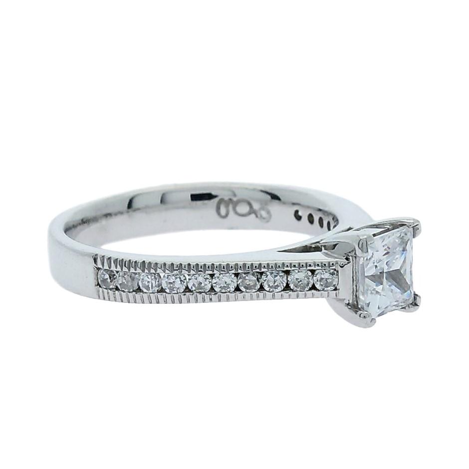 1.05 Carat millgrain Sterling Silver ring