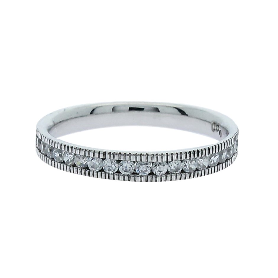 0.33 Carat Sterling Silver matching millgrain band