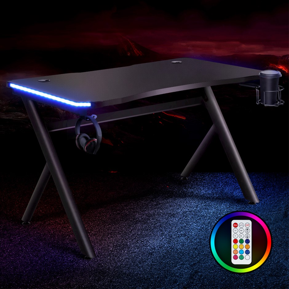 Artiss Gaming Desk Home Office Computer Carbon Fiber Style LED Racer Table