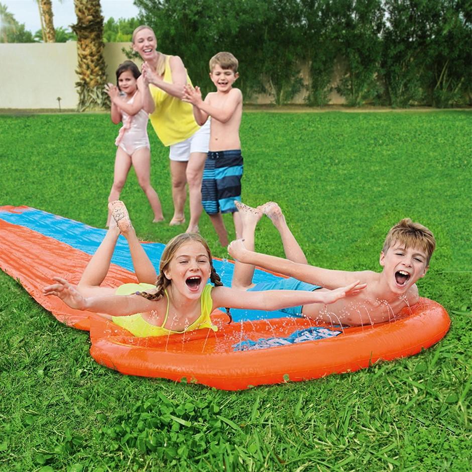 Bestway Inflatable Water Slip Slide Double Kids Splash Toy Outdoor 4.88M
