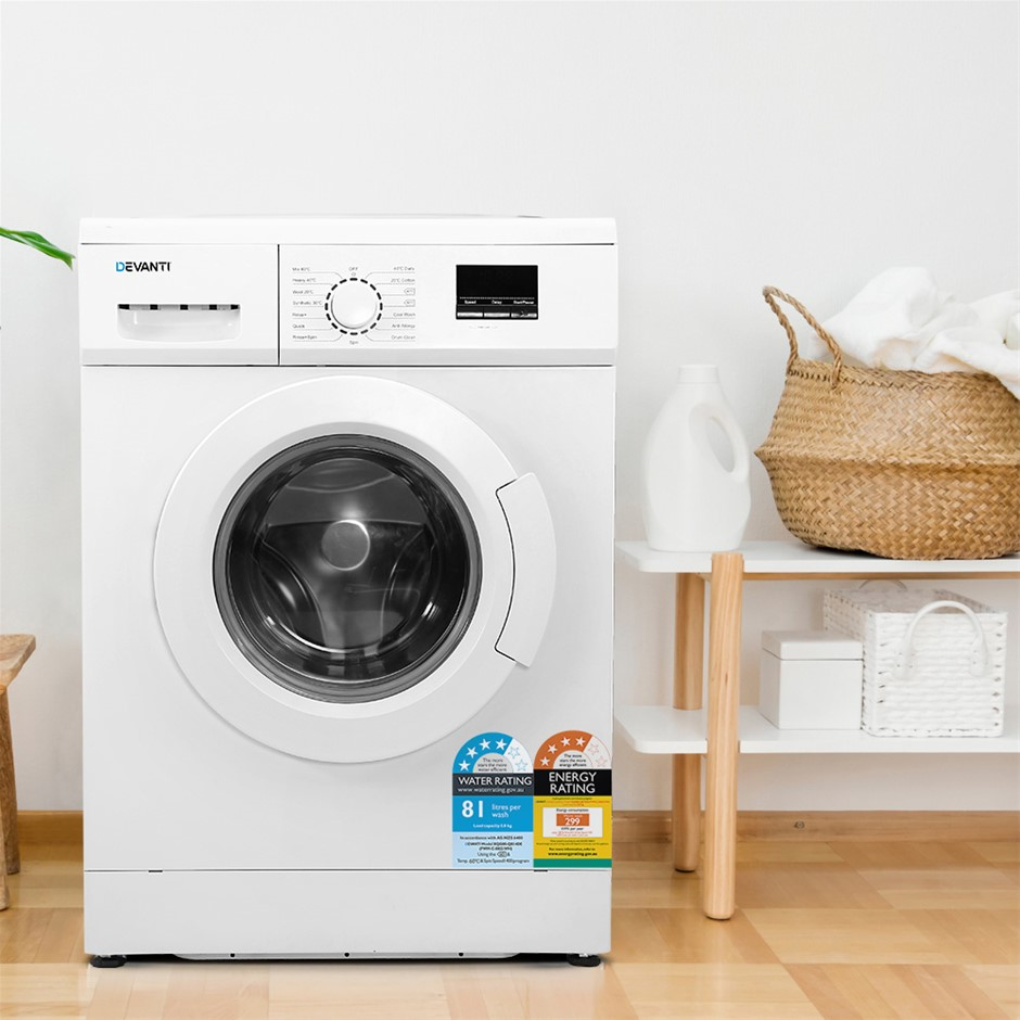Devanti 8kg Front Load Washing Machine Quick Wash 24h Delay Start Automatic