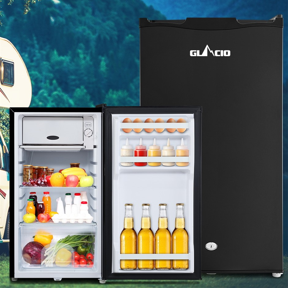 Glacio 95L Portable Fridge Bar Freezer Cooler Upright 12V/24V/240V BLK