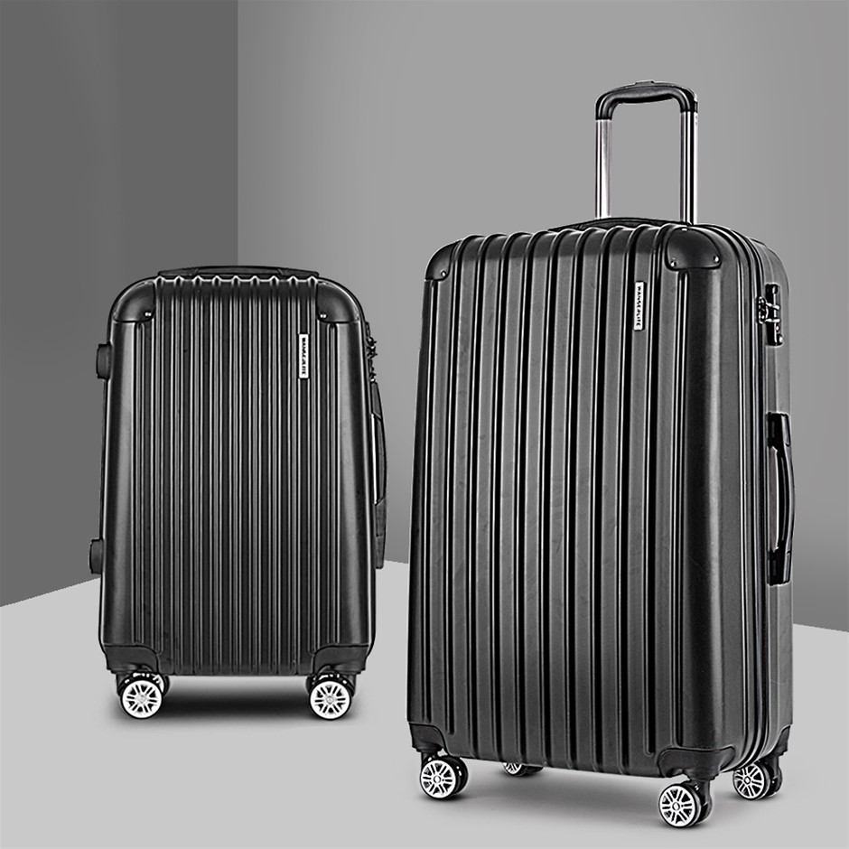 Wanderlite 2PCS Carry On Luggage Sets Travel Hard Case Lightweight Black