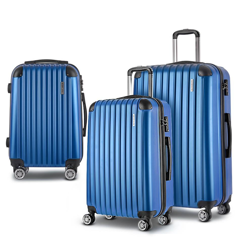 Wanderlite 3 Piece Luggage Suitcase Trolley - Blue