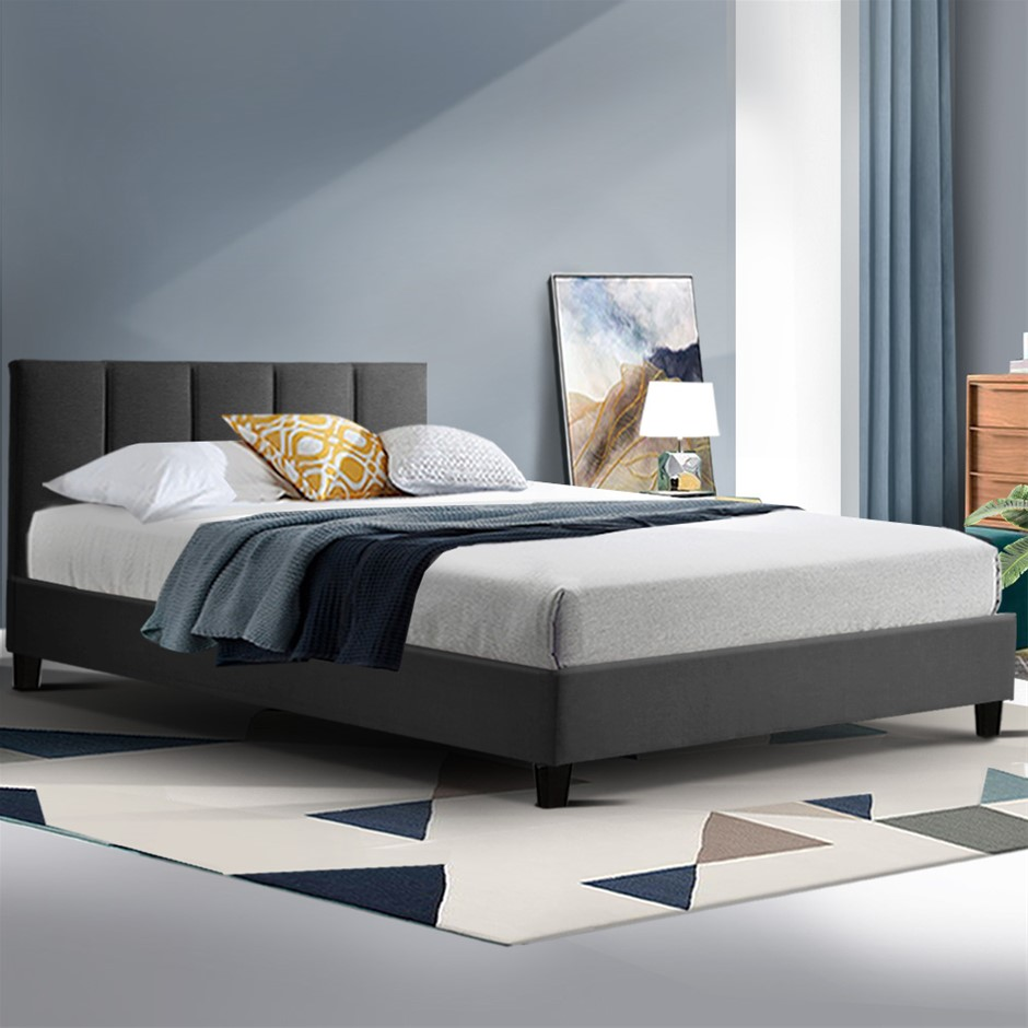 ANNA Bed Frame King Single Size Mattress Base Platform Fabric Wooden