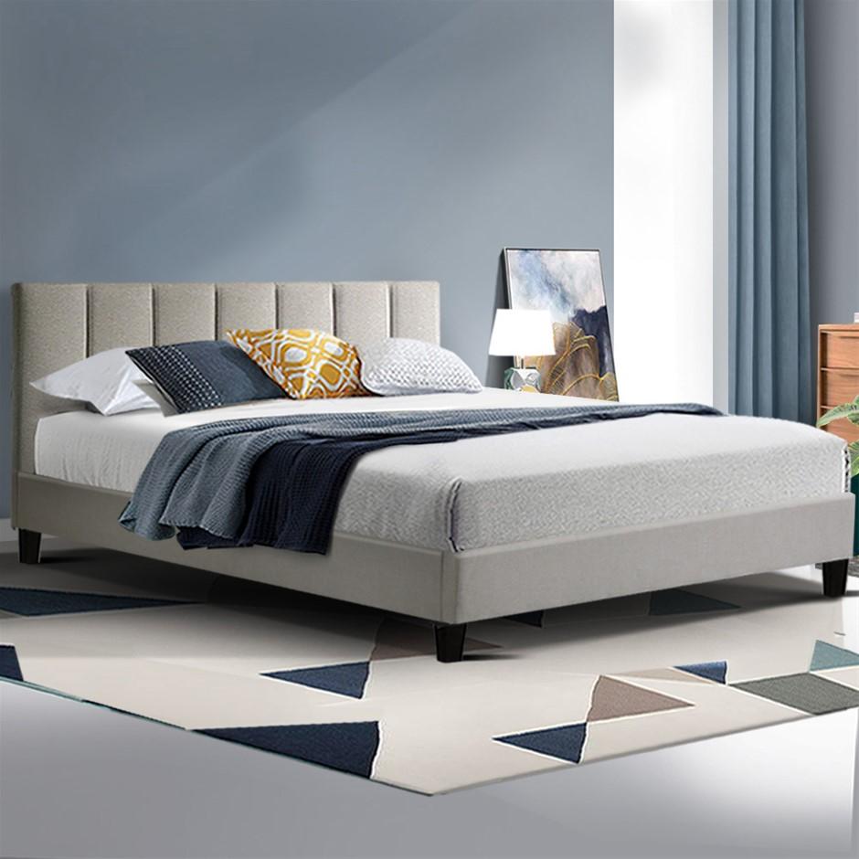 ANNA Bed Frame Queen Size Mattress Base Platform Fabric Wooden Beige