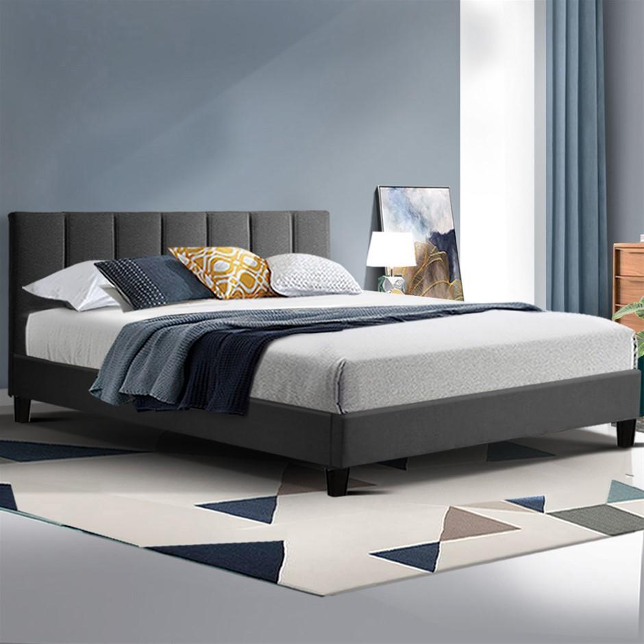 ANNA Bed Frame Queen Size Mattress Base Platform Fabric Wooden Charcoal