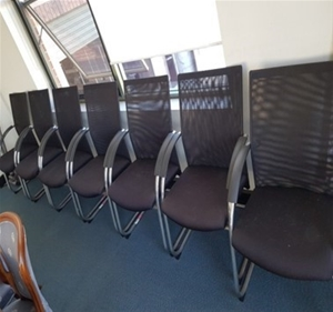 Client armchairs, black fabric seat, mes
