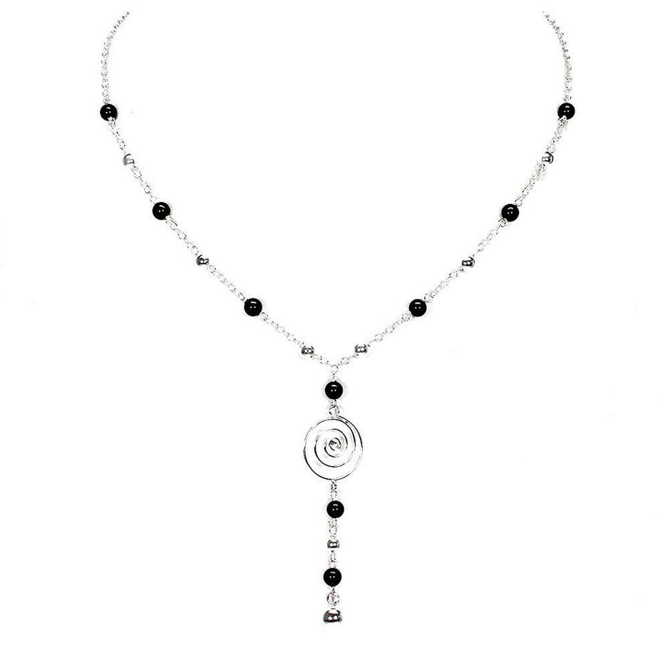 """17"""" Sterling Silver Black Spinel Necklace"""
