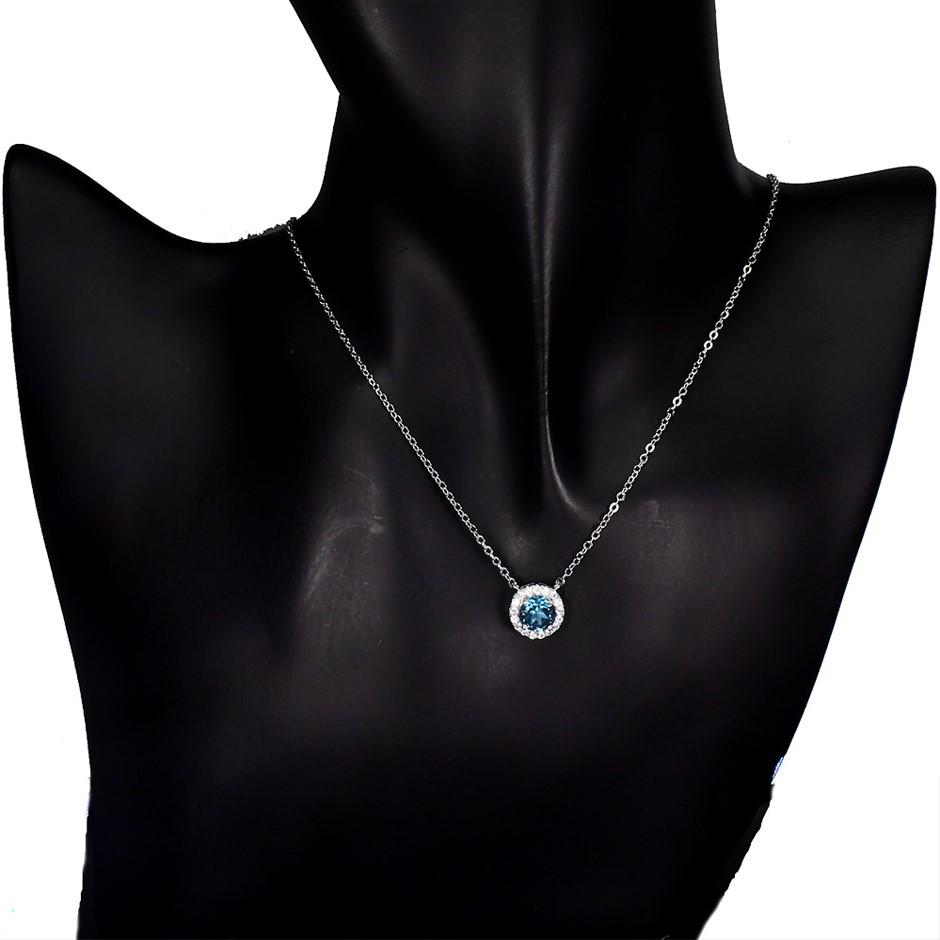Beautiful Genuine Swiss Blue Topaz Pendant & Chain
