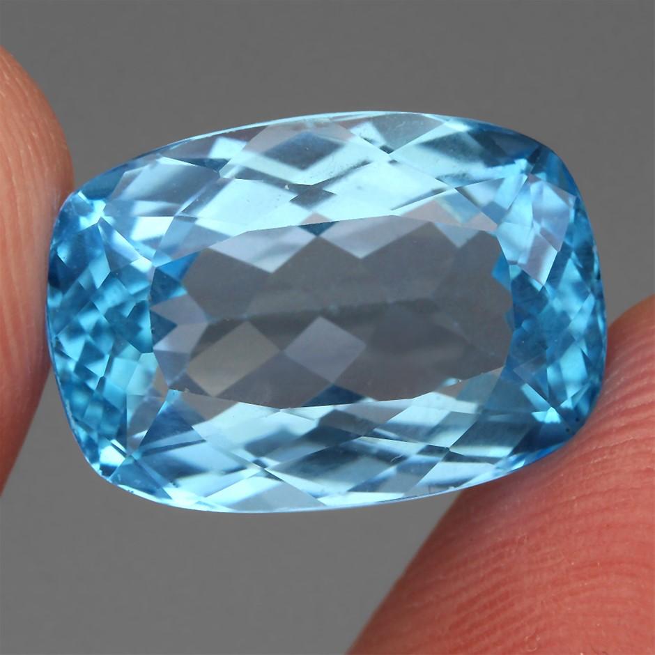 16.66ct. Genuine Antique Facet Swiss Blue Topaz