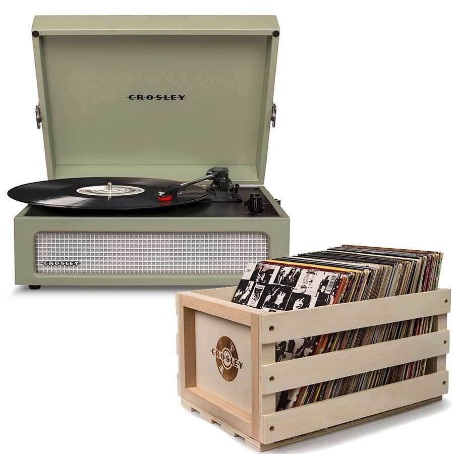 Crosley Voyager Portable Turntable - Sage + Free Record Storage Crate