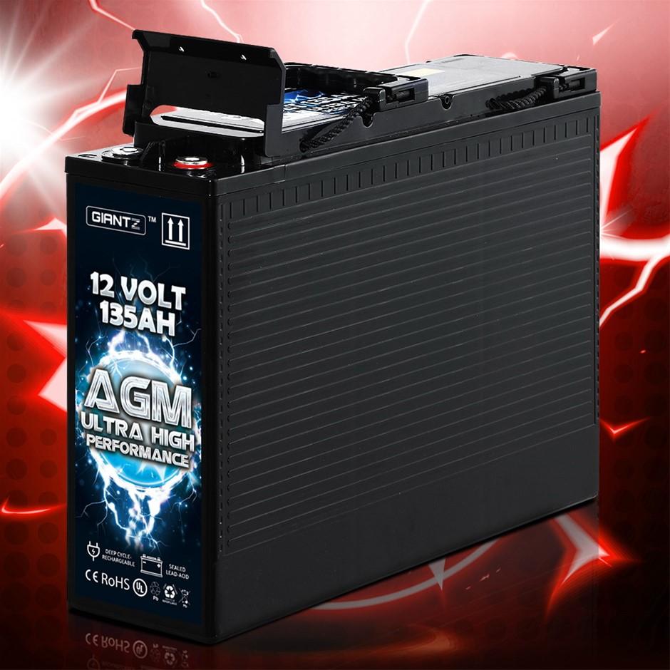Giantz AGM Deep Cycle Battery 12V 135Ah Portable 4WD Sealed Marine Solar
