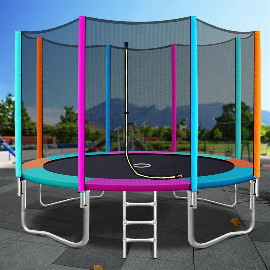 12FT Trampoline Round Trampolines Kids Enclosure Safety Net Pad