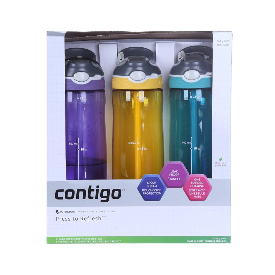 3 x CONTIGO Autospout Water Bottles, 709ml, Purple, Yellow & Aqua. (SN:CC63