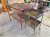 2 x Custom Made Work Benches with Wooden Top and Shelf