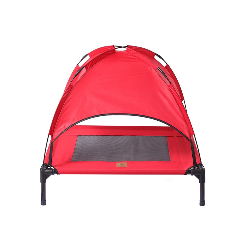 Charlies Elevated Pet Bed With Tent Red Medium