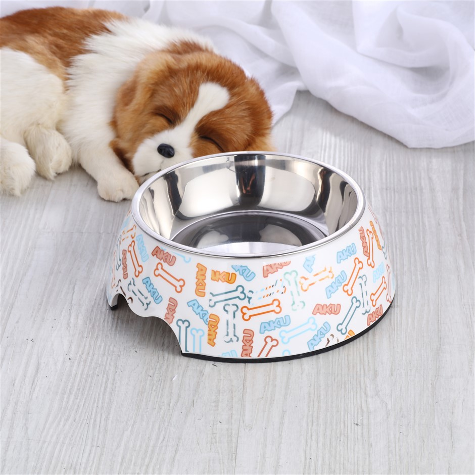Charlie's Melamine Printed Pet Feeders with Stainless Bowl -Bone Large