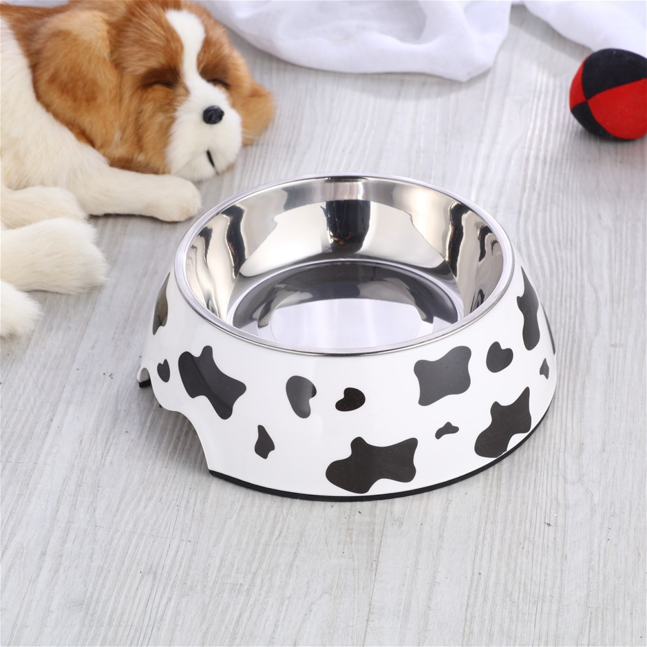 Charlie's Melamine Printed Pet Feeders with Stainless Bowl -Cow Large