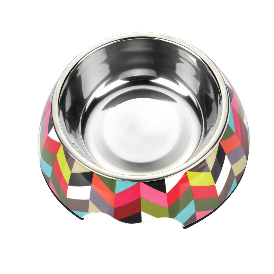 Charlie's Melamine Printed Pet Feeders with Stainless Bowl -Stripe Small