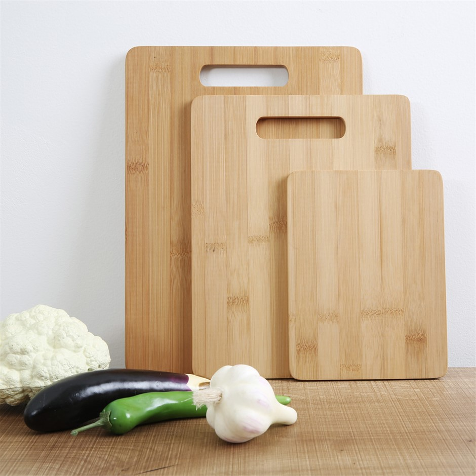 Gourmet Kitchen 3 piece bamboo cutting board set