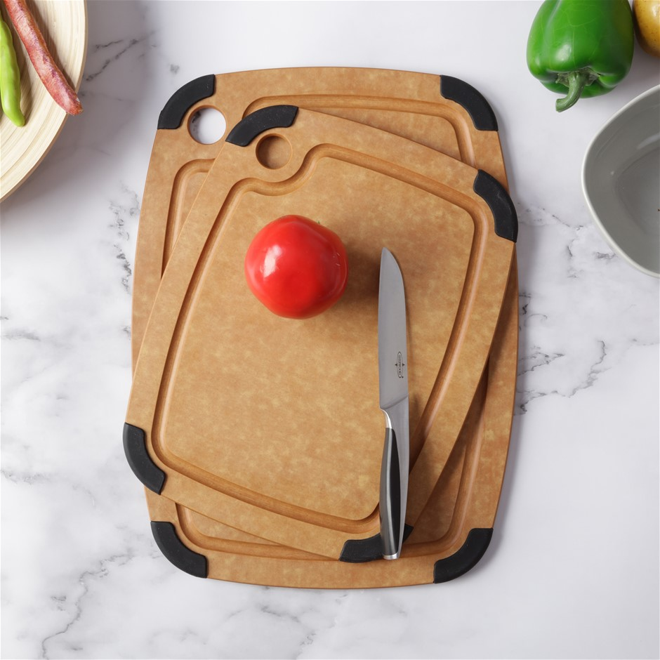 Gourmet Kitchen 2 Piece Wood Fibre Cutting Board with Non Slip Grip - Brown