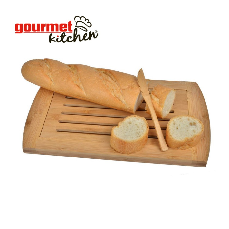 Gourmet Kitchen Bamboo bread cutting board with crumb tray - Natural Brown