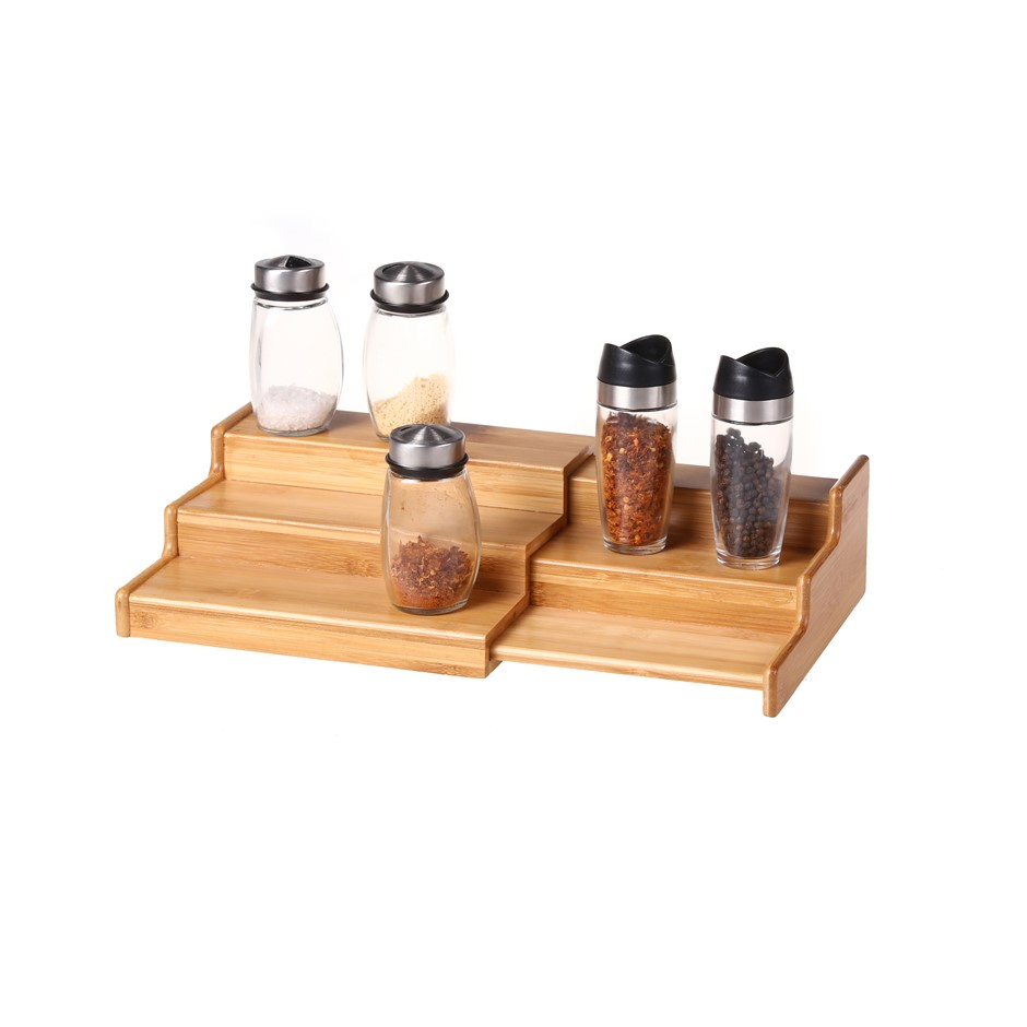 Gourmet Kitchen 3 Tier Spice Rack Expandable - Natural Brown