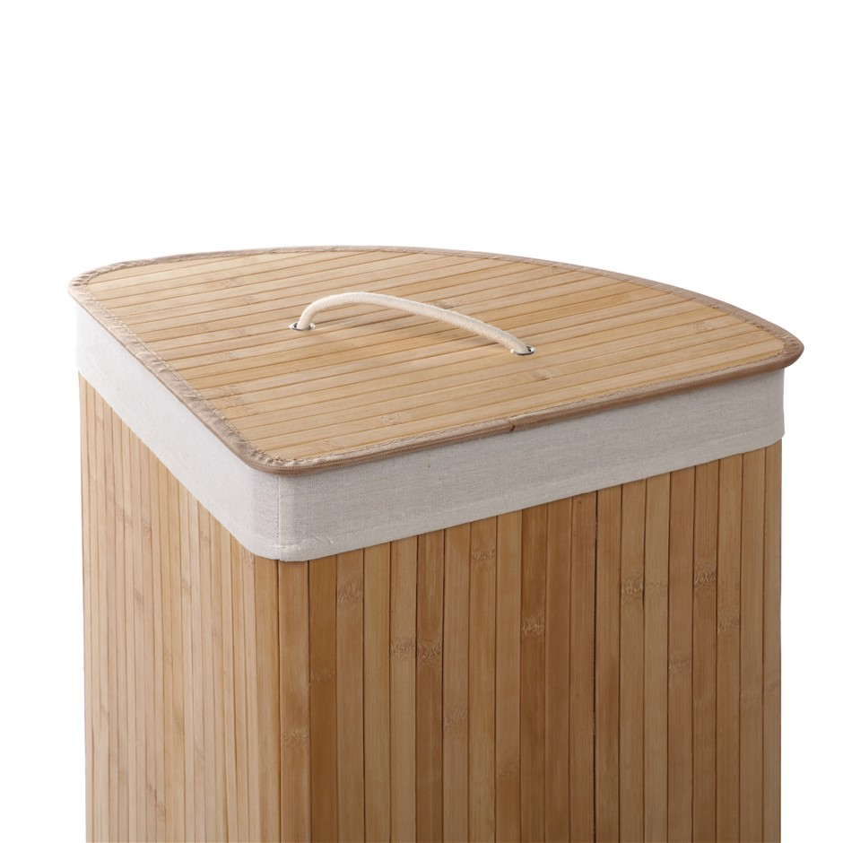 Sherwood Foldable Bamboo Corner Laundry Hamper - Natural Brown