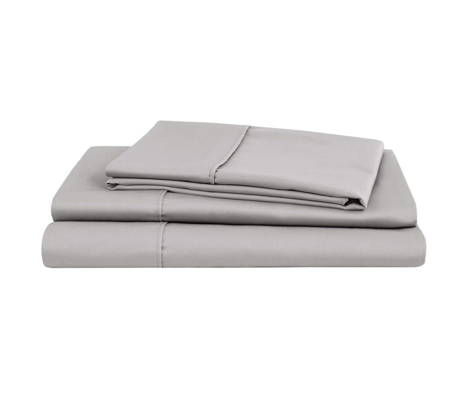 Natural Home Organic Cotton Sheet Set Queen Bed SILVER