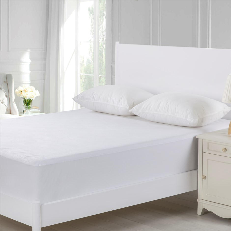 Dreamaker Cotton Terry Towelling Waterproof Mattress Protector Long Single