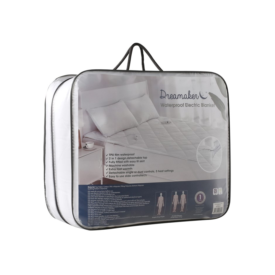 Dreamaker WATERPROOF 100% Cotton Cover Electric Blanket Single Bed