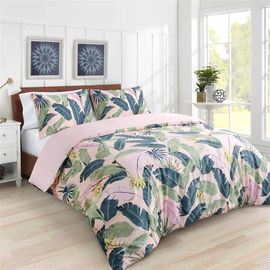 Dreamaker 300TC Cotton Sateen Printed Quilt Cover Set Pink Banana Queen Bed