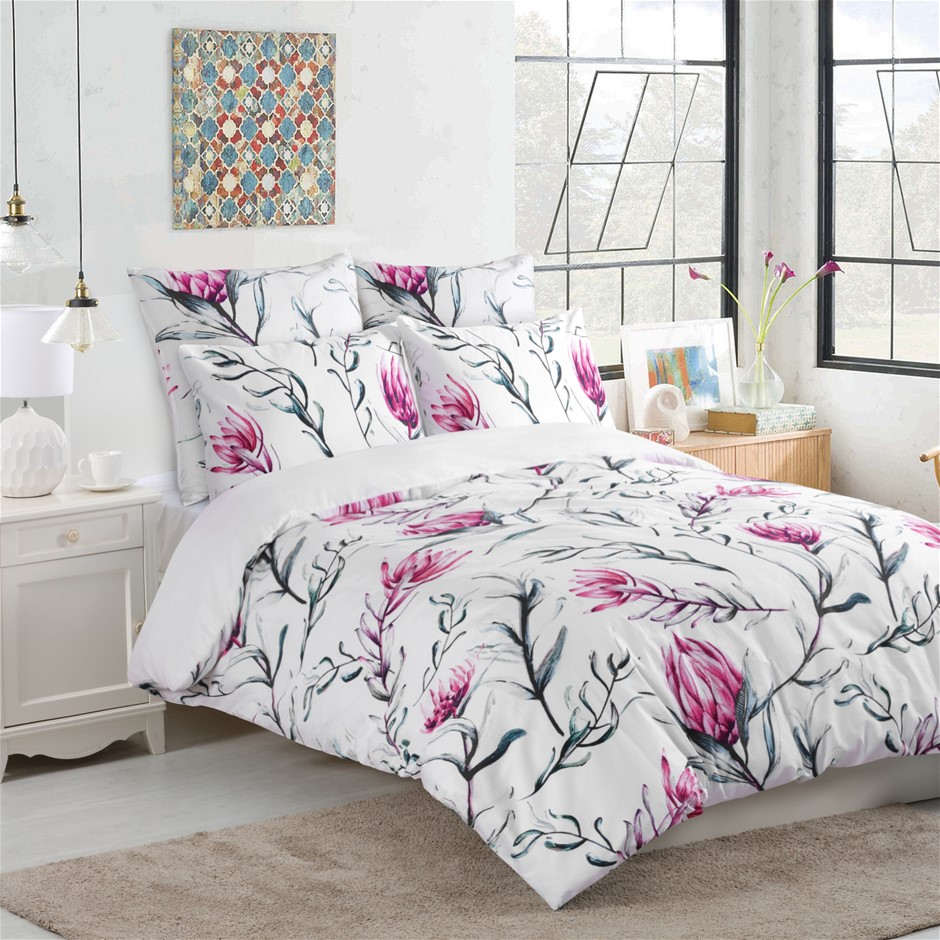 Dreamaker 300TC Cotton Sateen Printed Quilt Cover Set Pink Flower Queen Bed