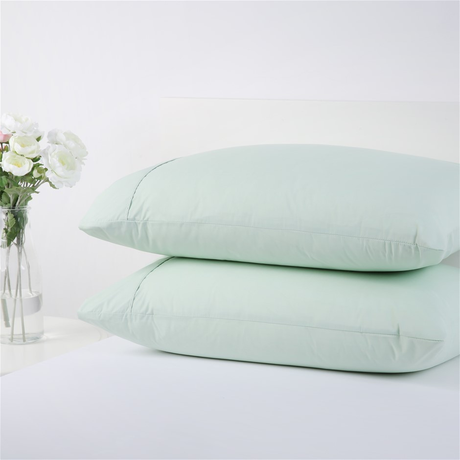 Dreamaker 250TC Plain Dyed Standard Pillowcases - Twin Pack -celadon