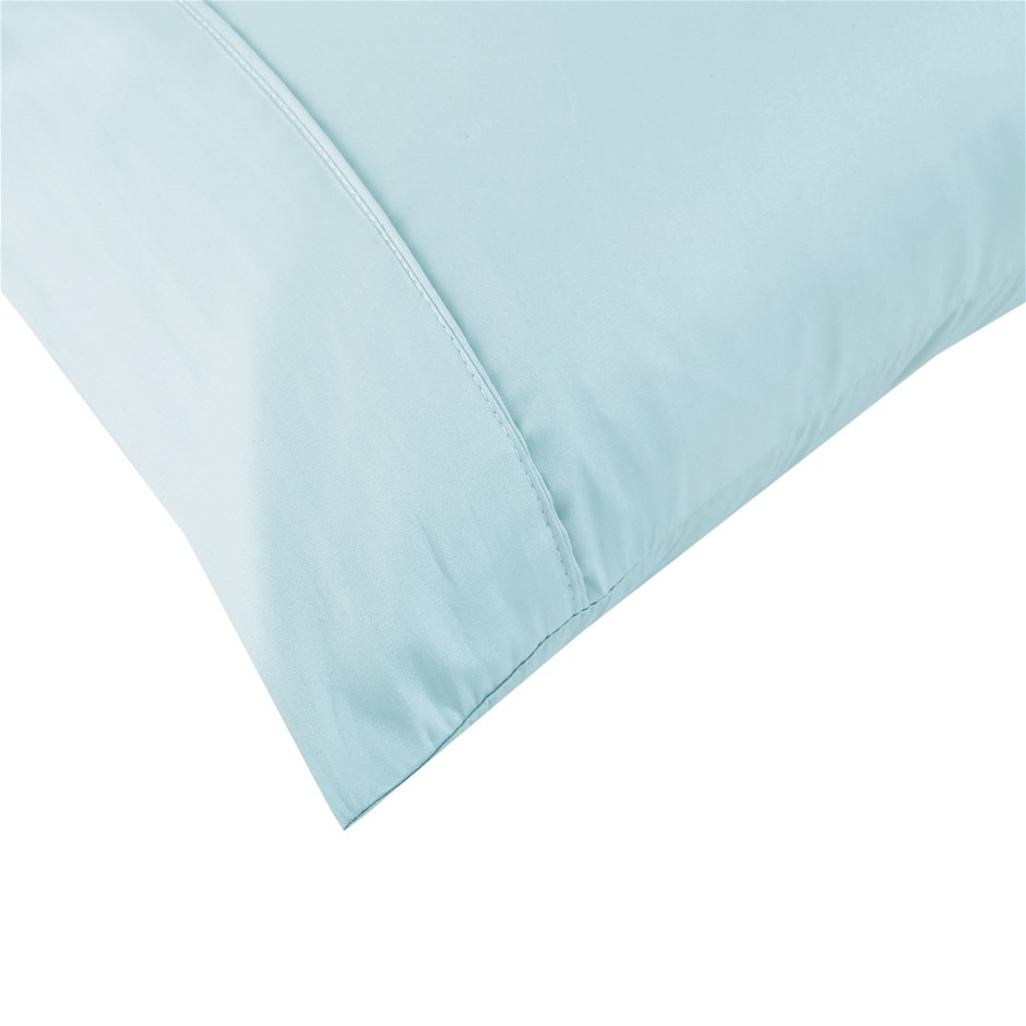 Dreamaker Cotton Sateen 300TC Plain Dyed Pillowcases- Twin Pack - Std. Mint