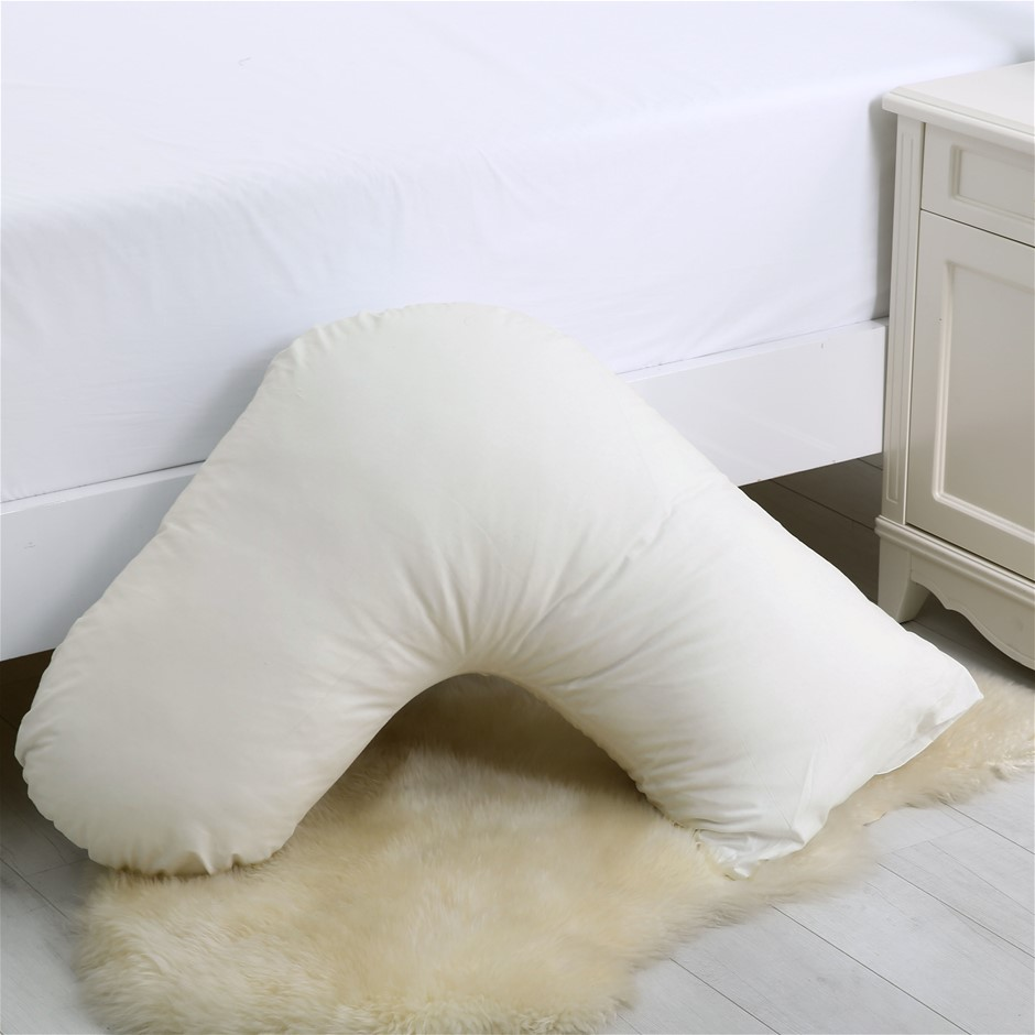 Dreamaker 250TC Plain Dyed V Shape Pillowcase - Cream