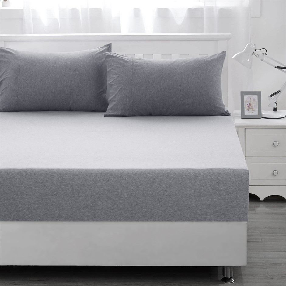 Dreamaker cotton jersey fitted sheet marble grey Queen Bed