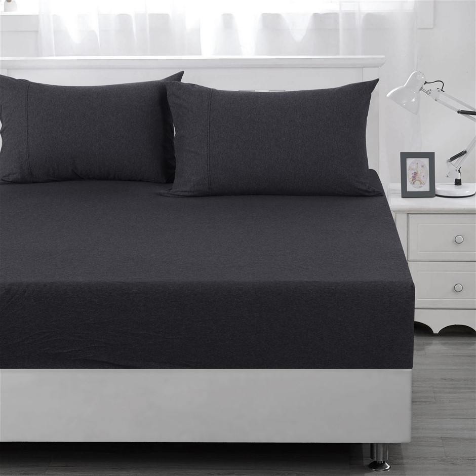 Dreamaker cotton jersey fitted sheet charcoal QB