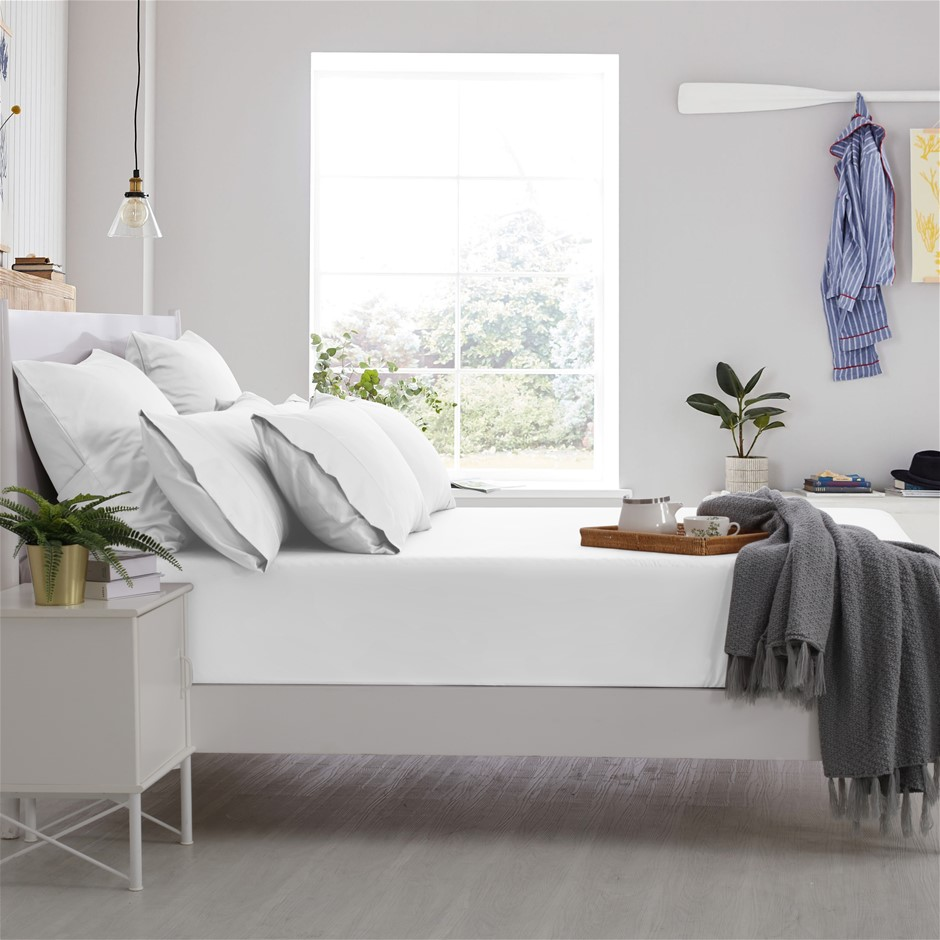 Dreamaker Cotton Sateen 1000TC Fitted Sheet White King Bed