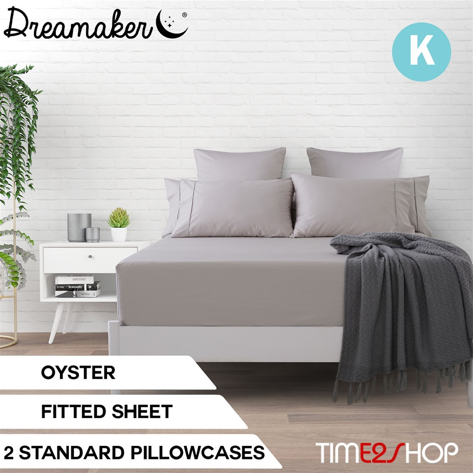 Dreamaker Cotton Sateen 1000TC Fitted Sheet Oyster King Bed