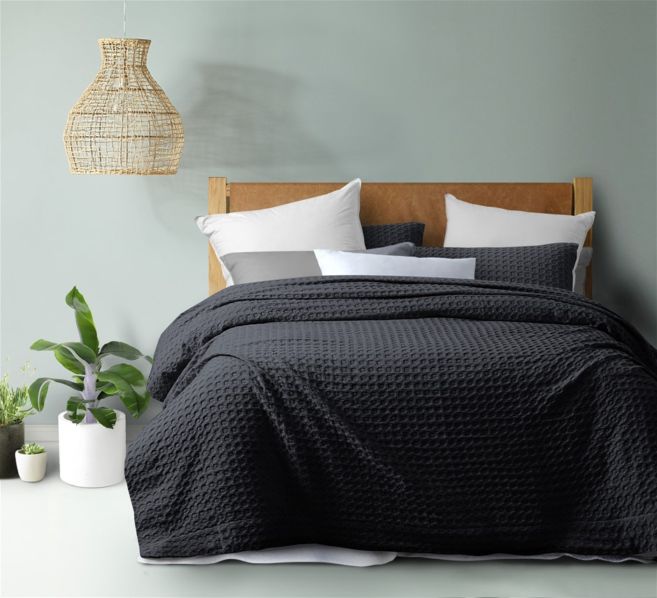Dreamaker cotton waffle Quilt Cover Set SKB Charcoal