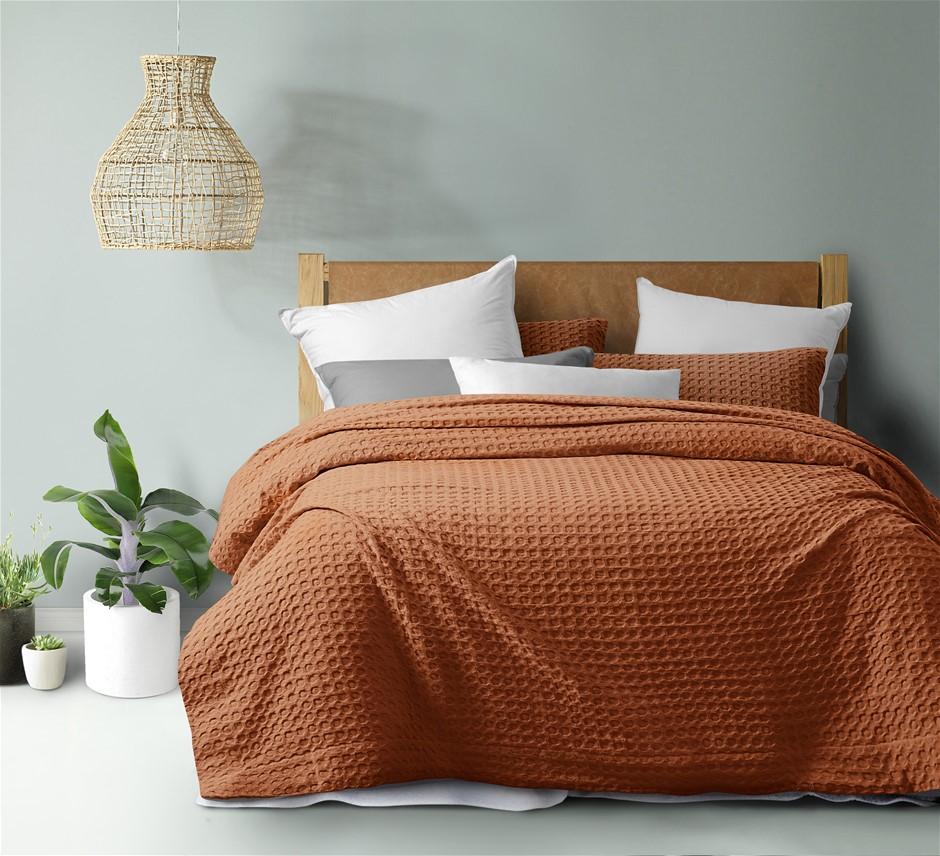 Dreamaker cotton waffle Quilt Cover Set QB Rust