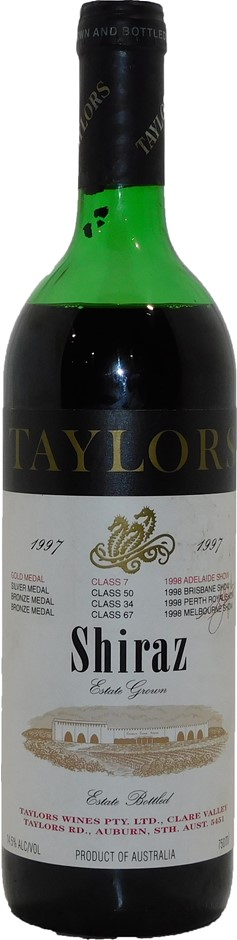Taylors Wines Estate Shiraz 1997 (1x 750mL), Clare Valley, SA. Cork