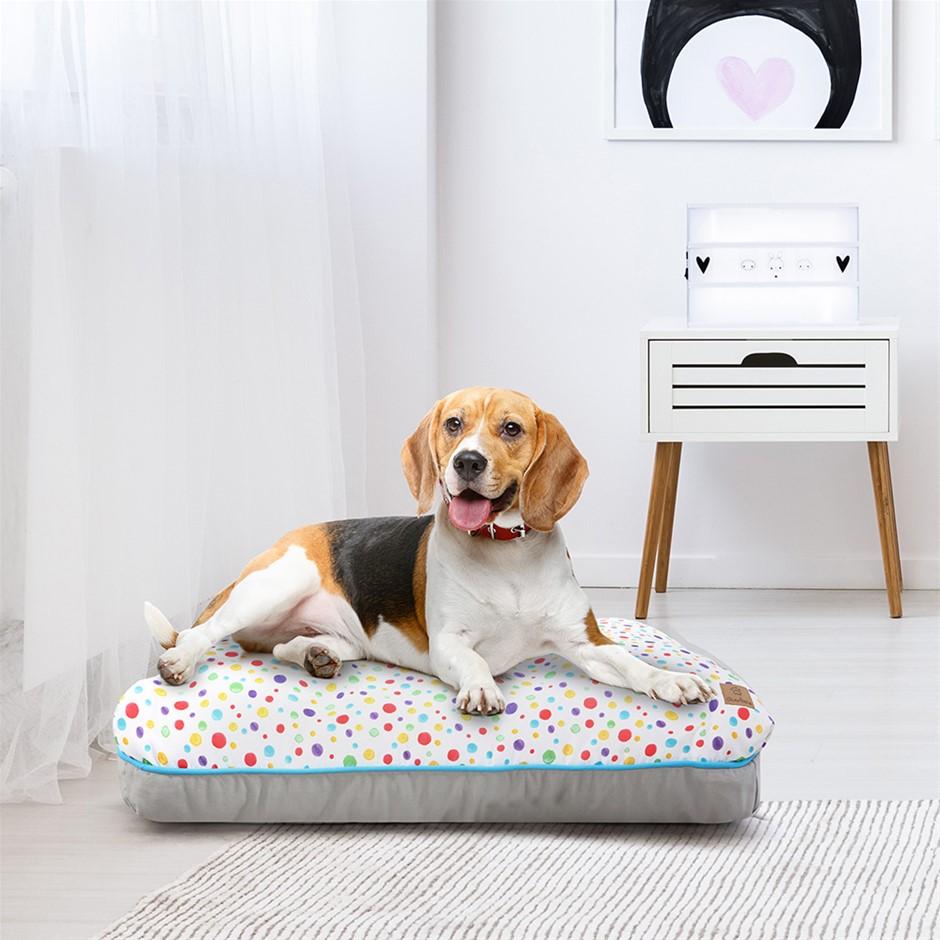 Charlie's Rectangular Funk Pet Bed Pad- Rainbow Dots Large
