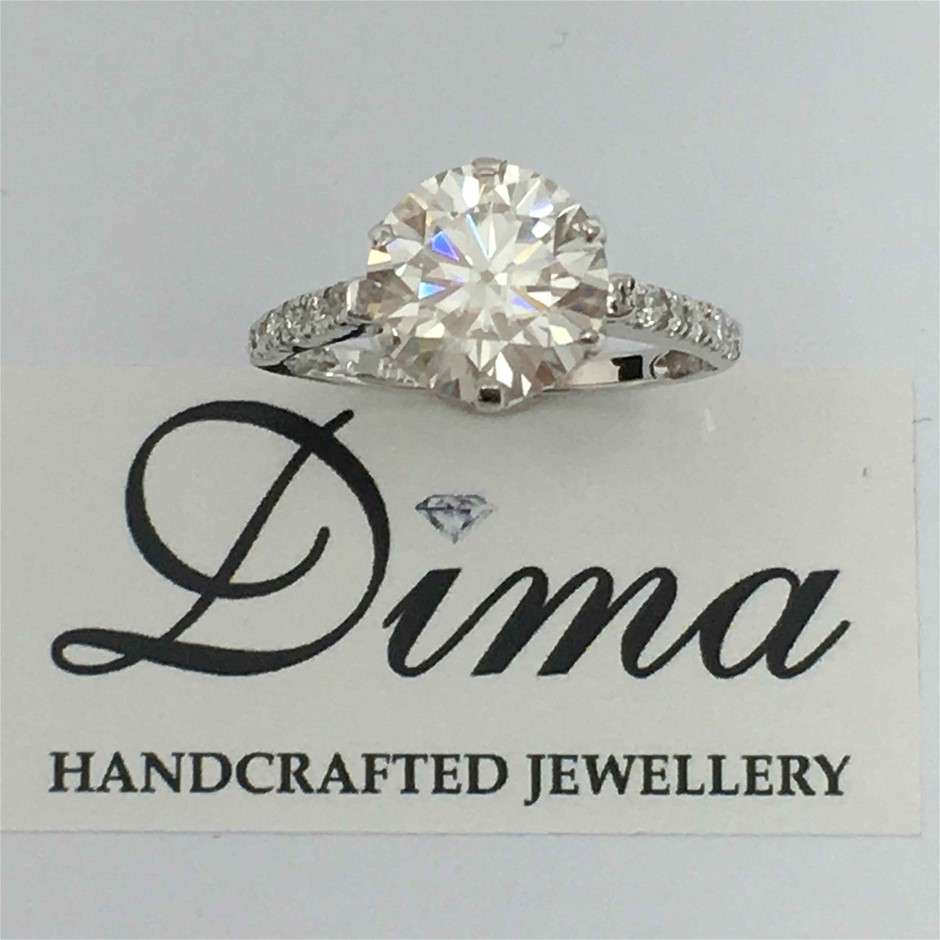 18ct White Gold, 2.71ct White Moissanite and Diamond Engagement Ring