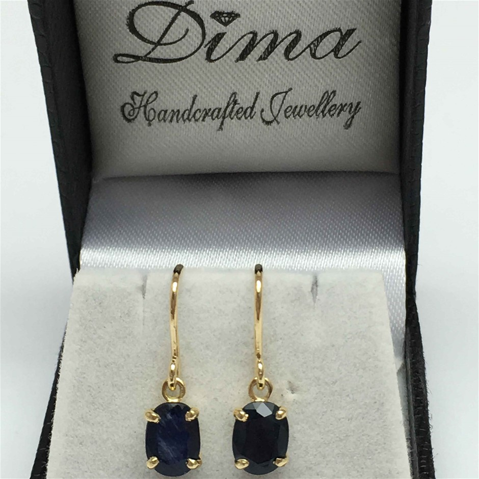 18ct Yellow Gold, 3.10ct Blue Sapphire Earring
